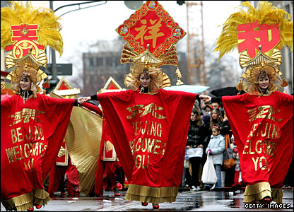 Chinese performers at a parade in Cologne, Germany