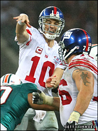 New York Giants quarter-back Eli Manning in action at Wembley