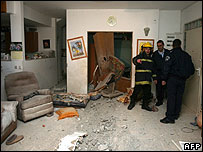 Aftermath of rocket attack on Sderot - 6 February