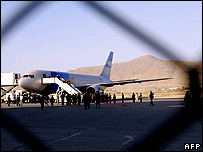 A plane on the tarmac at Kabul airport