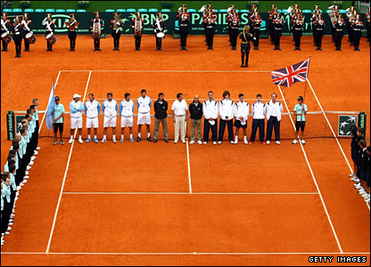 The Argentina and Great Britain teams line up ahead of the Davis Cup tie between Argentina and Great Britain in Buenos Aires