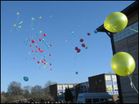 100 'fair-play' balloons were released by students