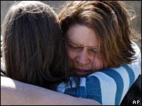 Elizabeth Reilman, left, hugs Louisiana Technical College staff member Buffy Brinkley in Baton Rouge, Louisiana, 8 February, 2008