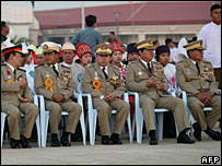 Officials attend a ceremony to mark the 60th anniversary of Burma's independence from Britain, 4 January 2008