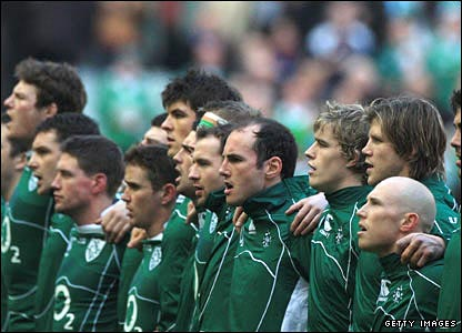 Ireland players sing the national anthem