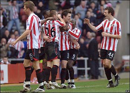 Sunderland celebrate their second goal