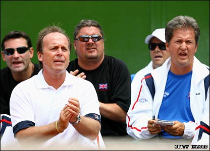 LTA chief executive Roger Draper, Davis Cup captain John Lloyd, Davis Cup coach Peter Lundgren and doubles coach Louis Cayer