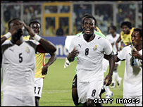 Ghana celebrate their win