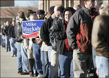 Republican caucus voters queue in Kansas, which Mike Huckabee went on to win 9 Feb