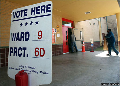 Voters enter a polling station in Louisiana 9 Feb