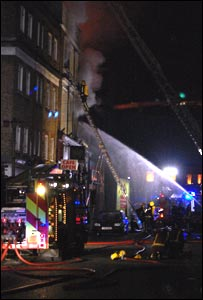 Firefighters tackling the blaze at the Hawley Arms