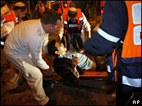 Medics evacuate a wounded man after a rocket attack on the southern Israeli town of Sderot, 9 February, 2008