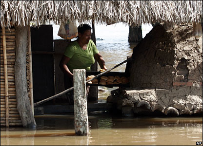 A woman bakes bread at her flooded home in Trinidad, northern Bolivia, 9 February 2008