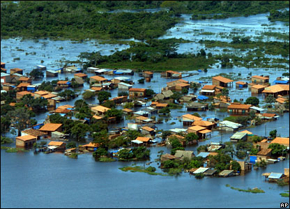 An aerial view of the city of Trinidad, in northern Bolivia, partially flooded due to heavy rains, 9 February 2008