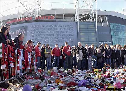 The scene outside Old Trafford before the game