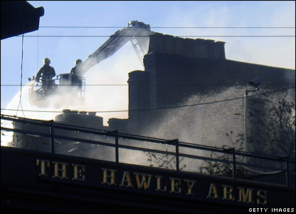 Firefighters at the Hawley Arms