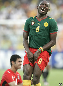 Geremi reacts to conceding a free-kick