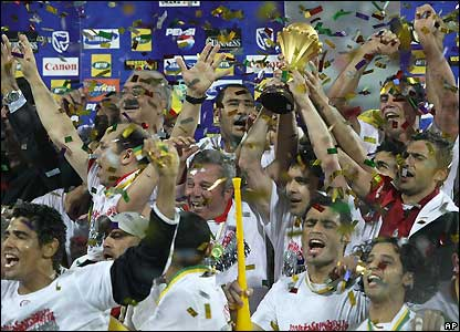 Egypt's players celebrate victory
