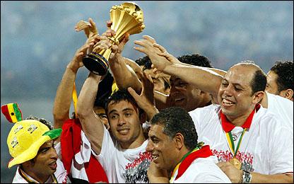 المنتخب المصري يحتفل بالفوز