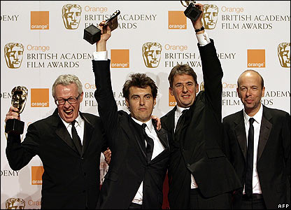 Left-right: Atonement producer Paul Webster, director Joe Wright and producers Tim Bevan and Eric Fellner