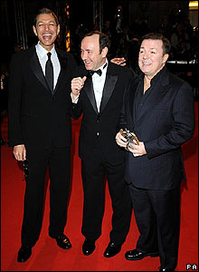 Jeff Goldblum (left), Kevin Spacey (centre) and Ricky Gervais