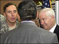 Gen David Petraeus (L) and Robert Gates (R) in Baghdad on Sunday 10 February 2008