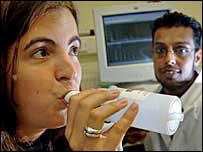 Dr Masood Yousef carries out breath sampling