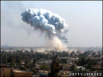 Smoke from car bombs in Iraq 11 February 2008