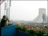 President Ahmadinejad speaking to crowds on anniversary of revolution