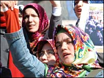A woman at a protest demanding the right to wear a headscarf (file photo)