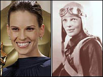 Hilary Swank (left) and Amelia Earhart