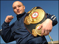 Gavin Rees with his WBA light-welterweight belt