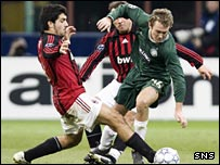 Celtic's Aiden McGeady is challenged by AC Milan's Rino Gattuso