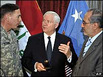 General David Petraeus, Robert Gates and Iraqi National Security Advisor, Mowaffaq al-Rubaie