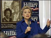 Hillary Clinton speaks at the National Council of Negro Women Building in Washington DC, 11 Feb 2008