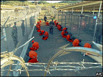 Camp X-Ray, Guantanamo Bay - defence department handout photo, Jan 2002