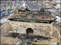 The burnt-out Namdaemun