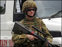 An Australian peacekeeper in Dili on 11 February 2008