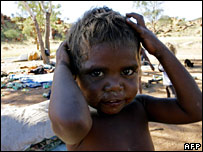 An Aboriginal child plays at a camp in Alice Springs (file image)