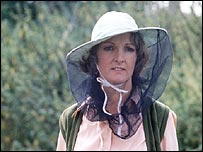 Penelope Keith in beekeeping gear in To The Manor Born