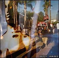 Striking writers picket in Hollywood