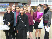 Rabia, Cacharel, Ellen, all 13, and Emma, Nykita, Jessica, Tayla and Tina, all 12, from North Manchester High School for Girls