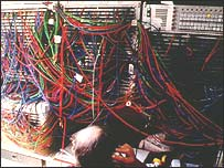 Tangle of wires at BBC outside broadcast unit at Wimbledon