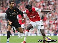 Cristiano Ronaldo and Emmanuel Adebayor