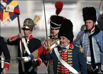 Soldiers march in replica 1808 battle dress
