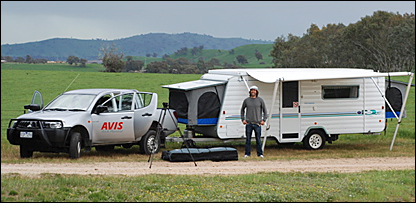 Ed Leigh and his caravan in Australia