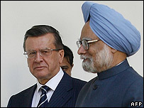 Indian Prime Minister Manmohan Singh and Russian Prime Minster Victor Zubkov