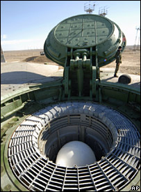 Russian RS-18 ballistic missile in a silo in Kazakhstan (29 October 2007)