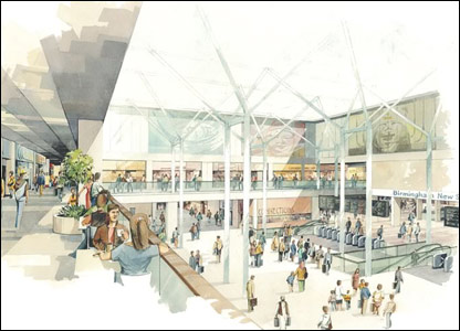 An impression of what the station could look like from the Pallasades shopping centre