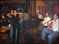 Musicians at a restaurant bar in Gemmayze district of Beirut